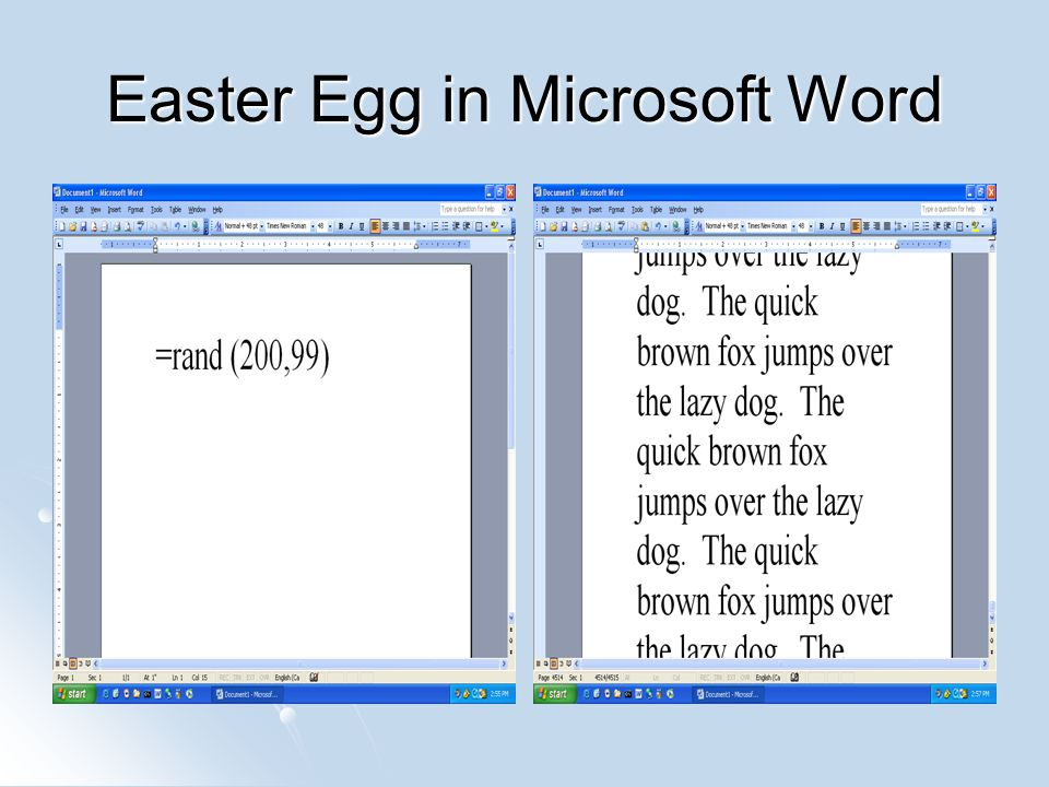 Easter Egg in Microsoft Word