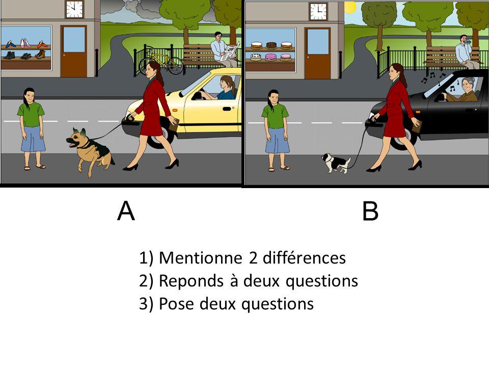 1) Mentionne 2 différences 2) Reponds à deux questions 3) Pose deux questions A B