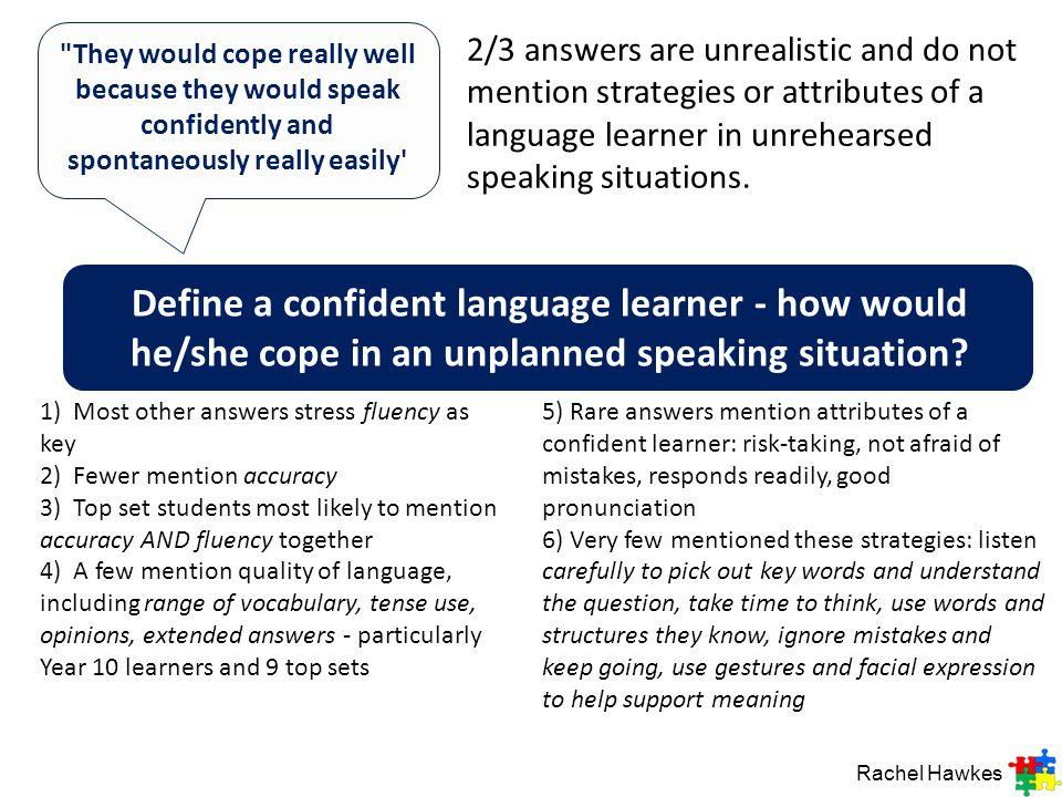 Define a confident language learner - how would he/she cope in an unplanned speaking situation.