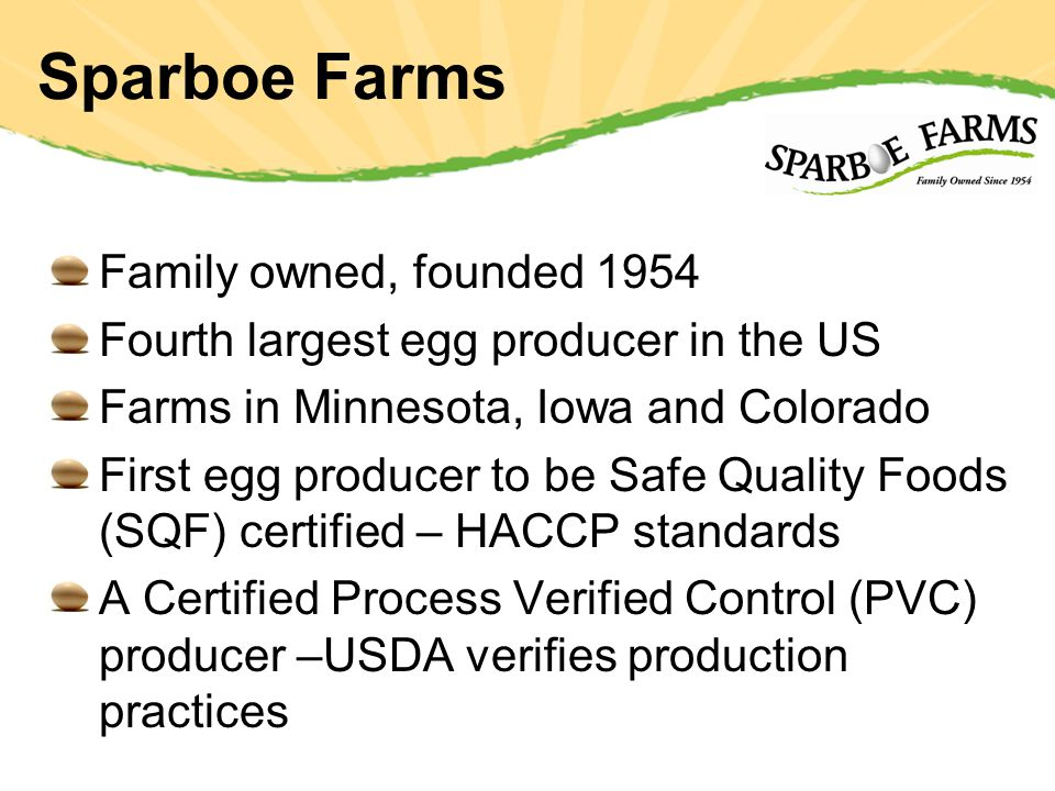 Sparboe Farms Family owned, founded 1954 Fourth largest egg producer in the US Farms in Minnesota, Iowa and Colorado First egg producer to be Safe Quality Foods (SQF) certified – HACCP standards A Certified Process Verified Control (PVC) producer –USDA verifies production practices