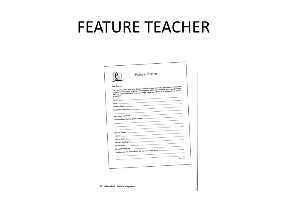FEATURE TEACHER