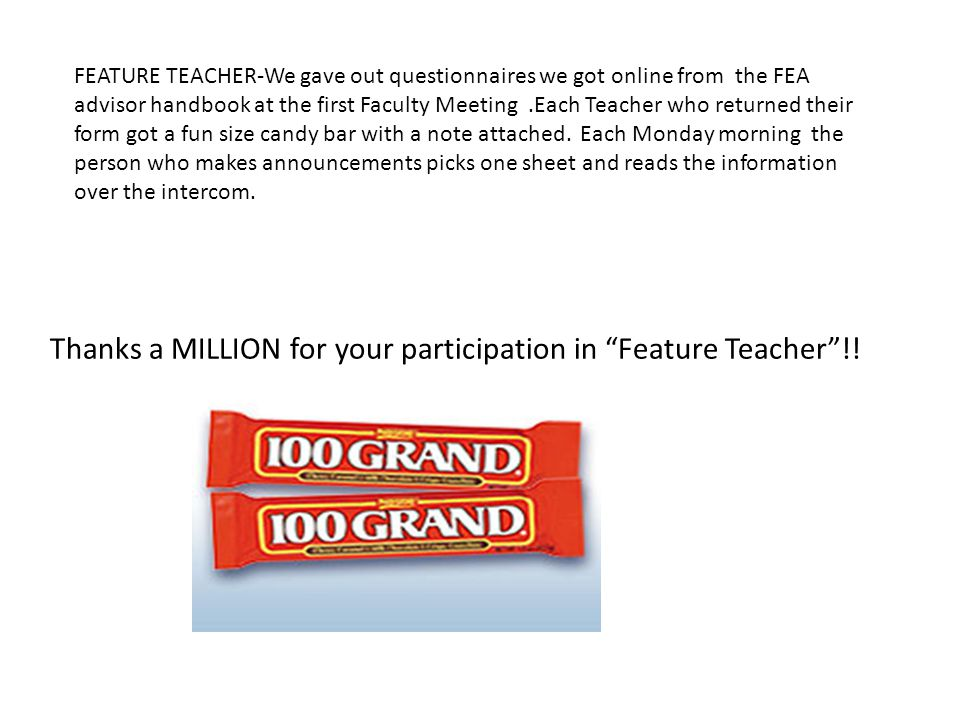 Thanks a MILLION for your participation in Feature Teacher!.