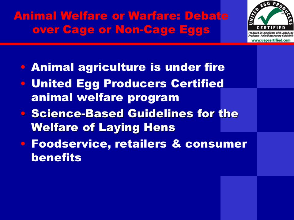 United Egg Producers Animal agriculture is under fire United Egg Producers Certified animal welfare program Science-Based Guidelines for the Welfare of Laying HensScience-Based Guidelines for the Welfare of Laying Hens Foodservice, retailers & consumer benefits Animal Welfare or Warfare: Debate over Cage or Non-Cage Eggs