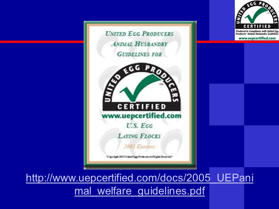 United Egg Producers http://www.uepcertified.com/docs/2005_UEPani mal_welfare_guidelines.pdf