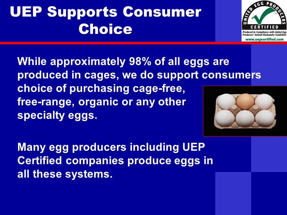 United Egg Producers UEP Supports Consumer Choice While approximately 98% of all eggs are produced in cages, we do support consumers choice of purchasing cage-free, free-range, organic or any other specialty eggs.