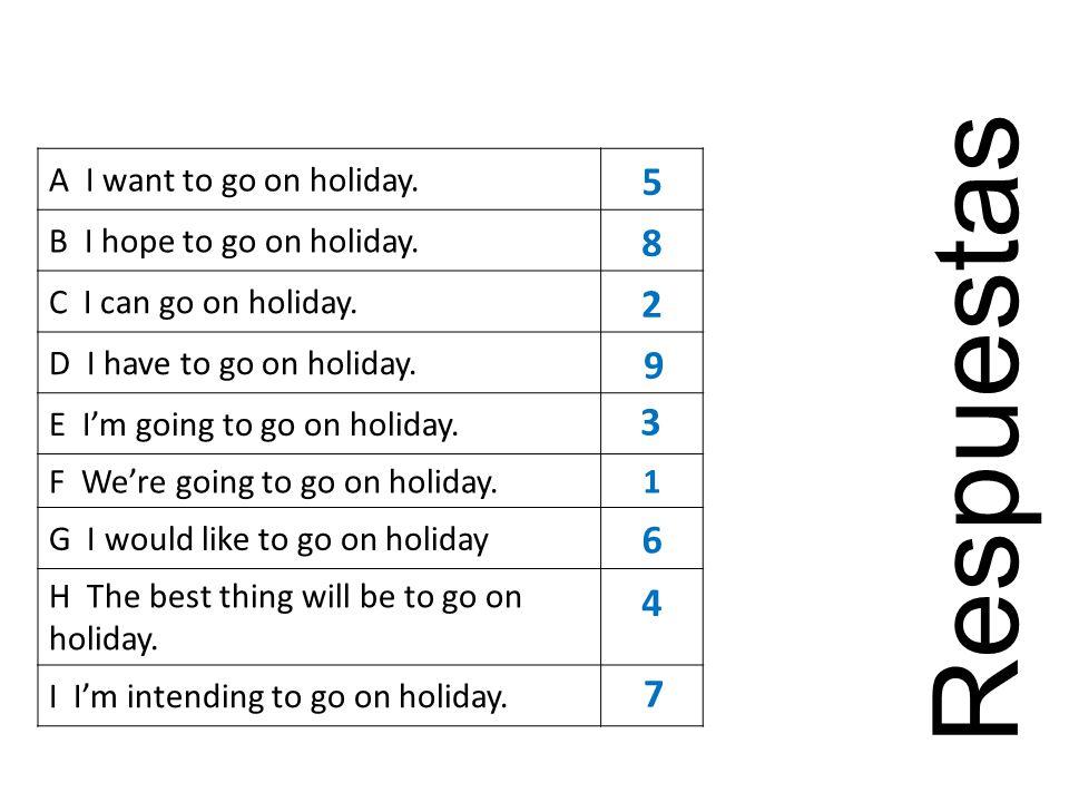 A I want to go on holiday.B I hope to go on holiday.