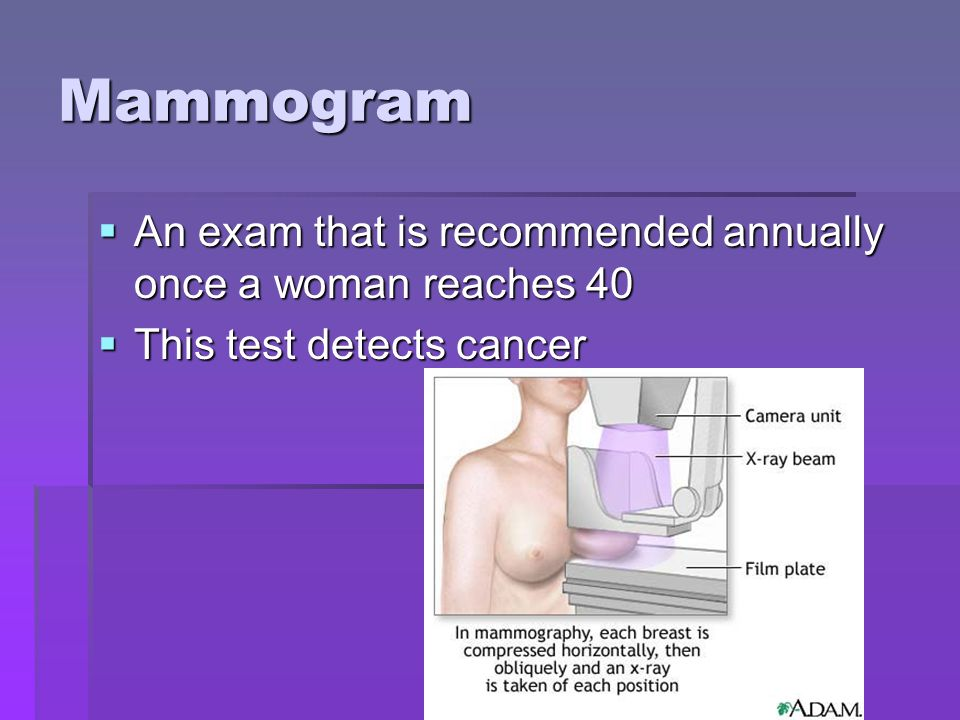 Mammogram An exam that is recommended annually once a woman reaches 40 An exam that is recommended annually once a woman reaches 40 This test detects cancer This test detects cancer