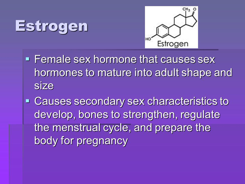 Estrogen Female sex hormone that causes sex hormones to mature into adult shape and size Female sex hormone that causes sex hormones to mature into adult shape and size Causes secondary sex characteristics to develop, bones to strengthen, regulate the menstrual cycle, and prepare the body for pregnancy Causes secondary sex characteristics to develop, bones to strengthen, regulate the menstrual cycle, and prepare the body for pregnancy