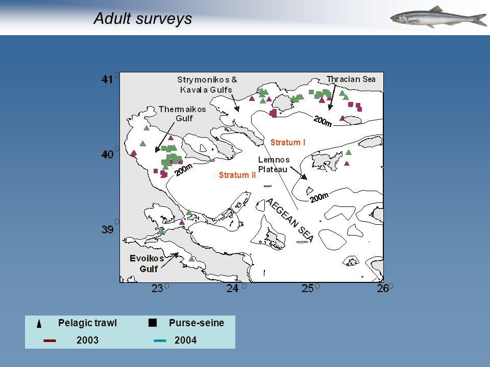 Pelagic trawlPurse-seine 20032004 Stratum I Stratum II Adult surveys