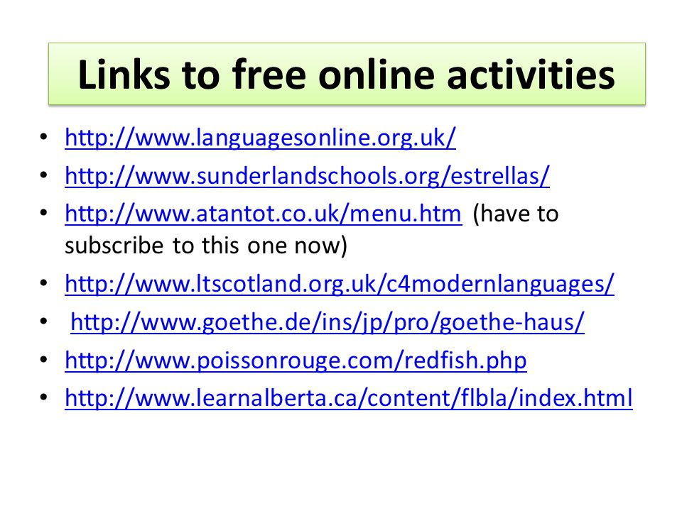 (have to subscribe to this one now) Links to free online activities