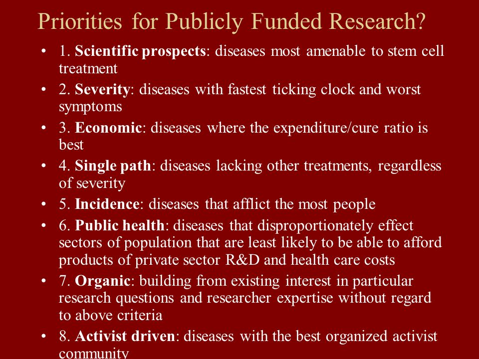 Priorities for Publicly Funded Research. 1.