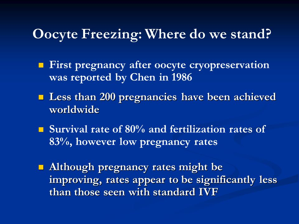 Oocyte Freezing: Where do we stand? First pregnancy after oocyte cryopreservation was reported by Chen in 1986 Less than 200 pregnancies have been ach
