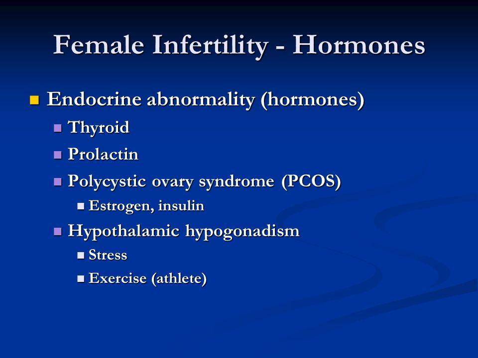 Female Infertility - Hormones Endocrine abnormality (hormones) Endocrine abnormality (hormones) Thyroid Thyroid Prolactin Prolactin Polycystic ovary s