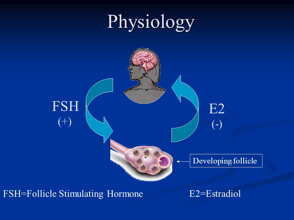 FSH (+) FSH=Follicle Stimulating Hormone Physiology E2 (-) E2=Estradiol Developing follicle