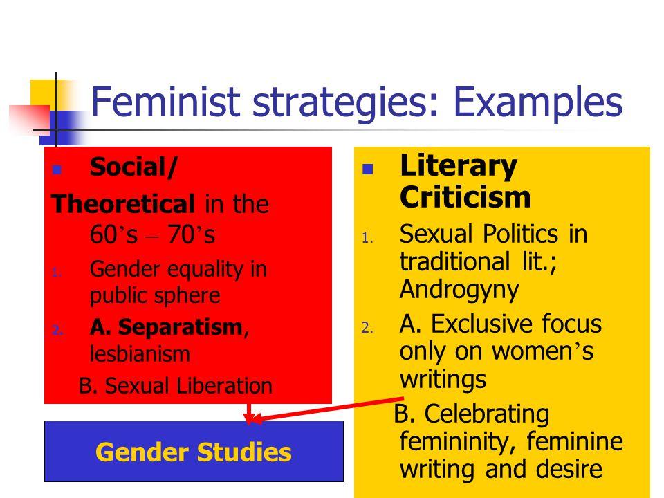 Gender Studies Feminist strategies: Examples Social/ Theoretical in the 60 s – 70 s 1. Gender equality in public sphere 2. A. Separatism, lesbianism B
