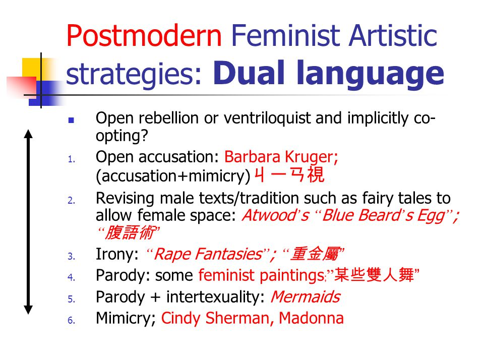 Postmodern Feminist Artistic strategies: Dual language Open rebellion or ventriloquist and implicitly co- opting? 1. Open accusation: Barbara Kruger;