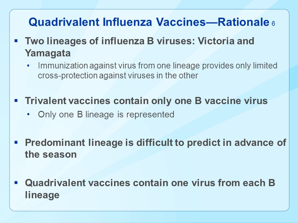 Quadrivalent Influenza VaccinesRationale Two lineages of influenza B viruses: Victoria and Yamagata Immunization against virus from one lineage provid