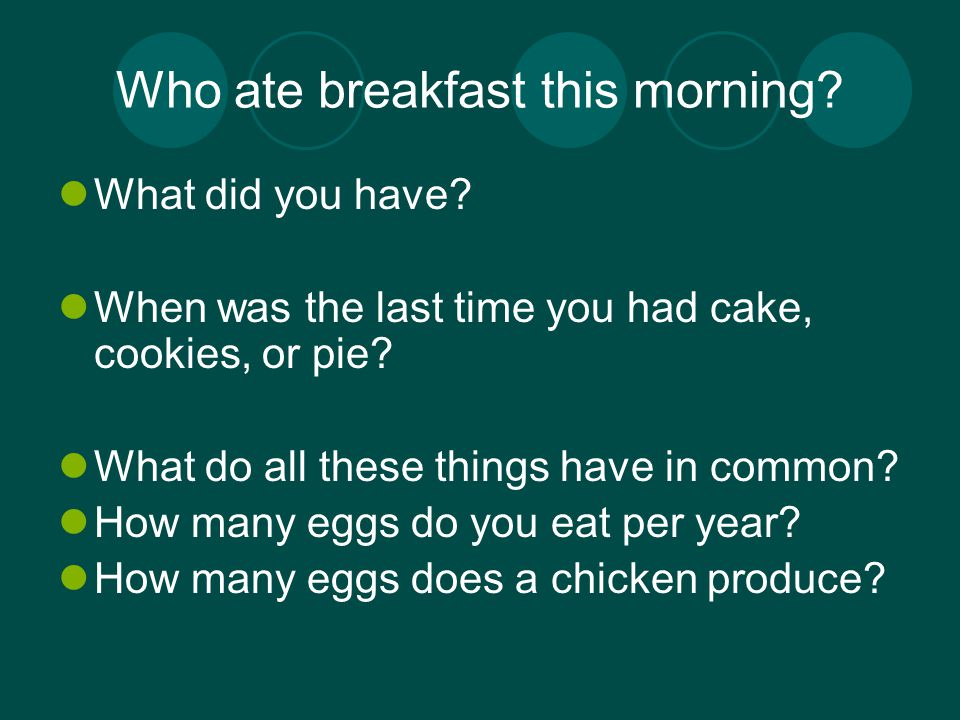 Who ate breakfast this morning. What did you have.