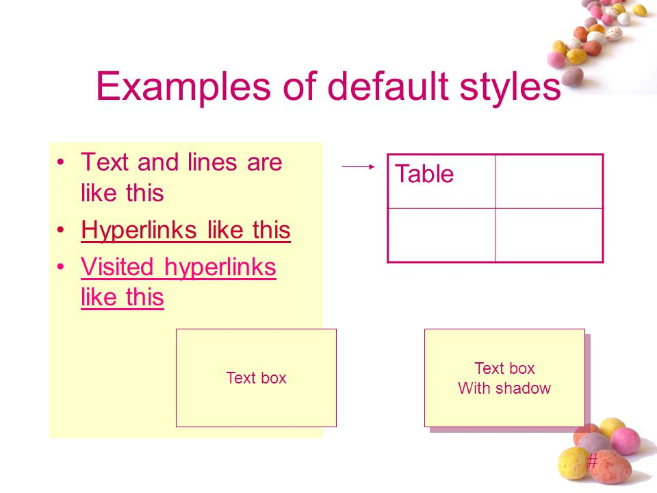 # Examples of default styles Text and lines are like this Hyperlinks like this Visited hyperlinks like this Table Text box With shadow Text box With shadow
