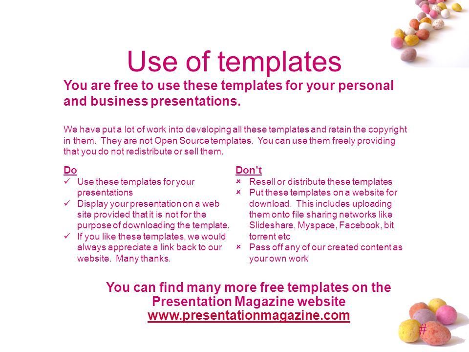 # Use of templates You are free to use these templates for your personal and business presentations.