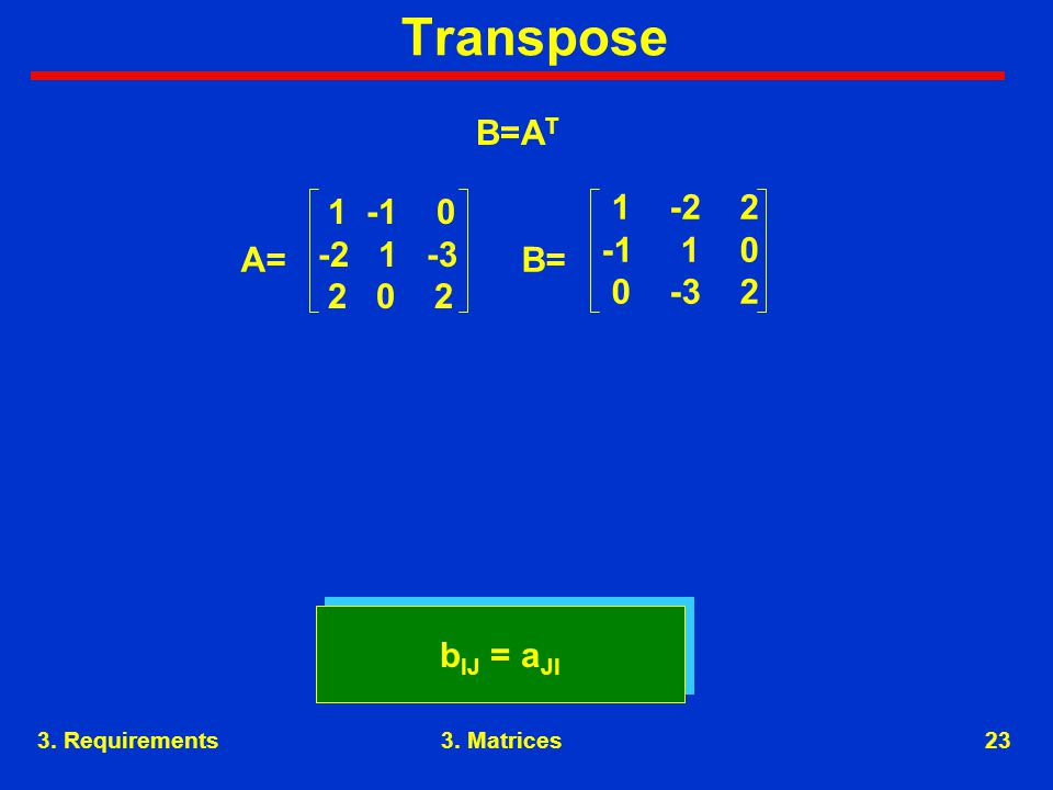 3. Requirements23 Transpose b IJ = a JI 1 -1 0 -2 1 -3 2 0 2 1 -2 2 -1 1 0 0 -3 2 A=B= B=A T 3.