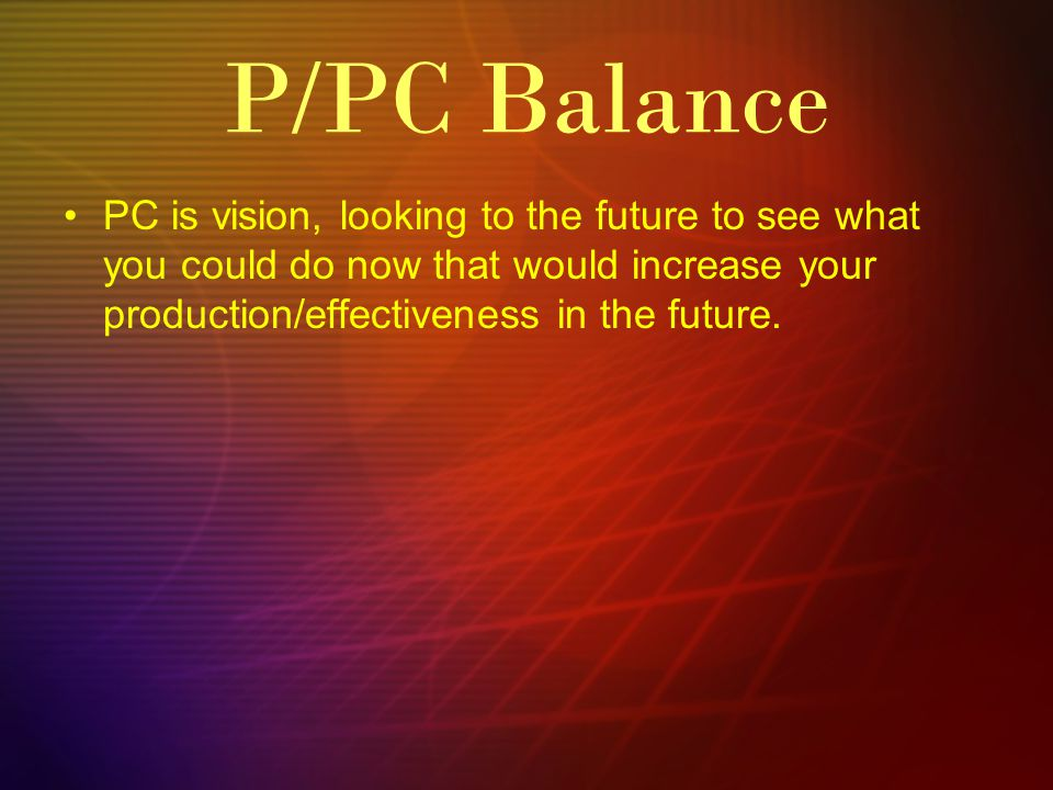 PC is vision, looking to the future to see what you could do now that would increase your production/effectiveness in the future. P/PC Balance