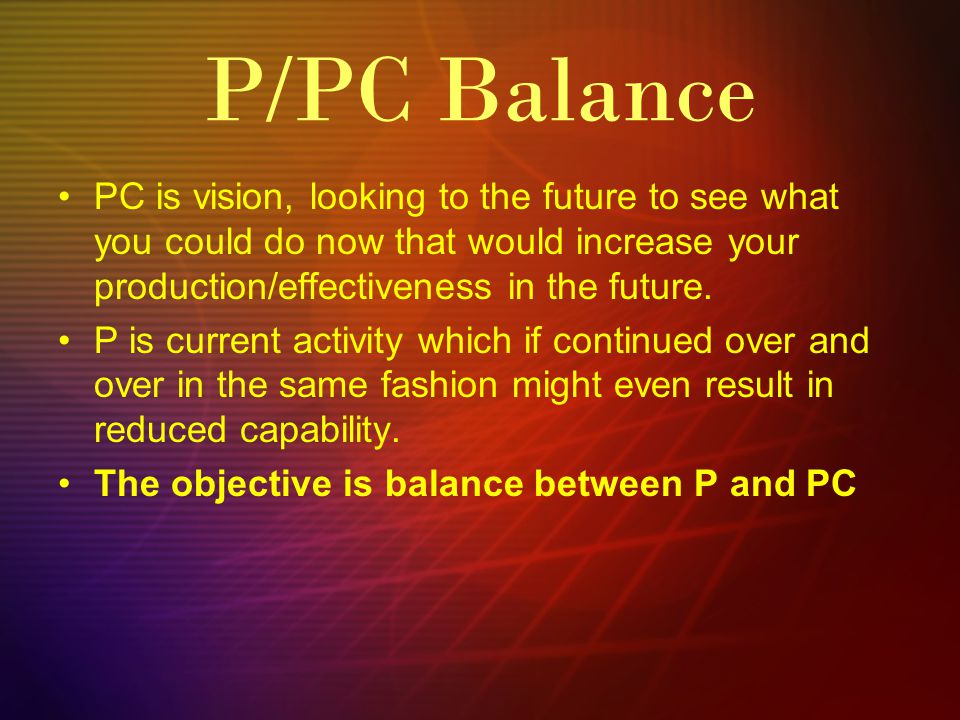 PC is vision, looking to the future to see what you could do now that would increase your production/effectiveness in the future.