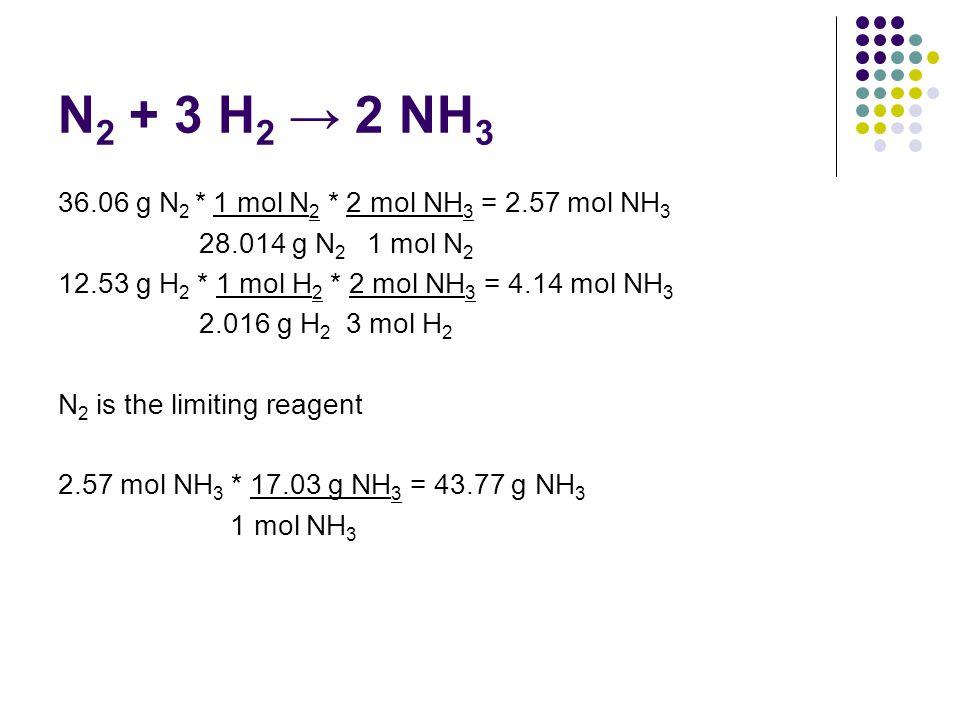 N 2 + 3 H 2 2 NH 3 36.06 g N 2 * 1 mol N 2 * 2 mol NH 3 = 2.57 mol NH 3 28.014 g N 2 1 mol N 2 12.53 g H 2 * 1 mol H 2 * 2 mol NH 3 = 4.14 mol NH 3 2.