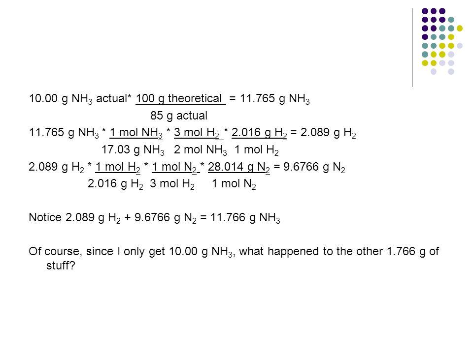10.00 g NH 3 actual* 100 g theoretical = 11.765 g NH 3 85 g actual 11.765 g NH 3 * 1 mol NH 3 * 3 mol H 2 * 2.016 g H 2 = 2.089 g H 2 17.03 g NH 3 2 m