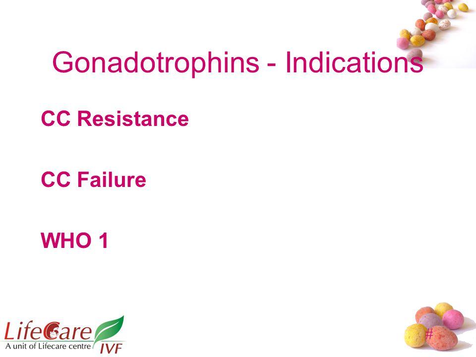 # Gonadotrophins - Indications CC Resistance CC Failure WHO 1