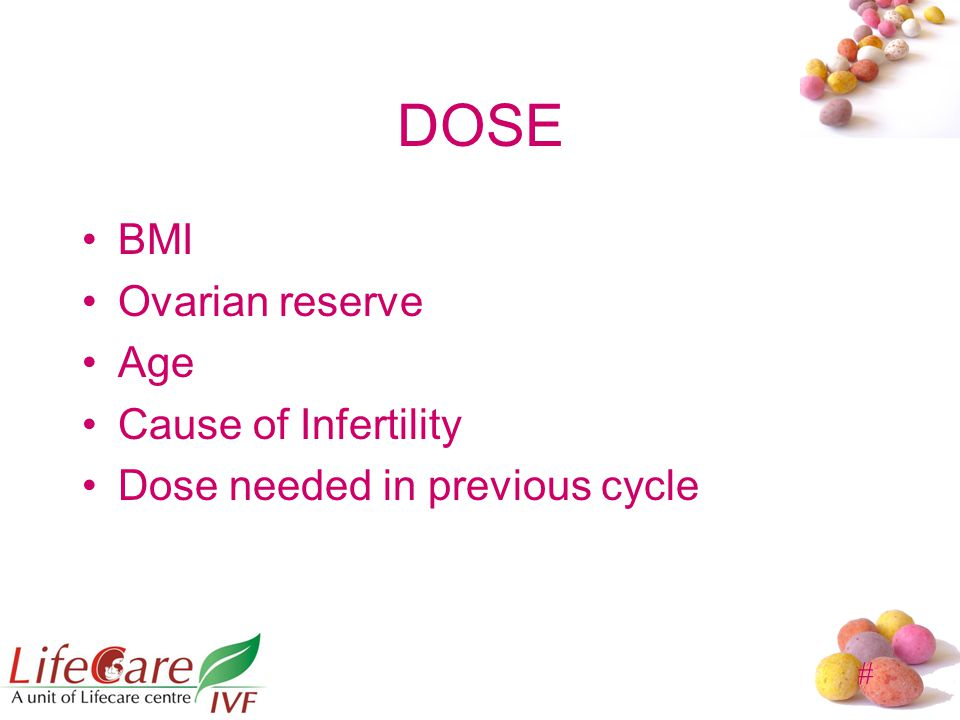 # DOSE BMI Ovarian reserve Age Cause of Infertility Dose needed in previous cycle