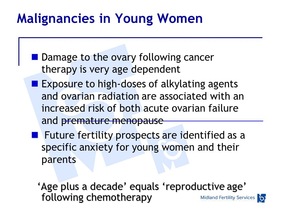 Malignancies in Young Women Damage to the ovary following cancer therapy is very age dependent Exposure to high-doses of alkylating agents and ovarian radiation are associated with an increased risk of both acute ovarian failure and premature menopause Future fertility prospects are identified as a specific anxiety for young women and their parents Age plus a decade equals reproductive age following chemotherapy Age plus a decade equals reproductive age following chemotherapy
