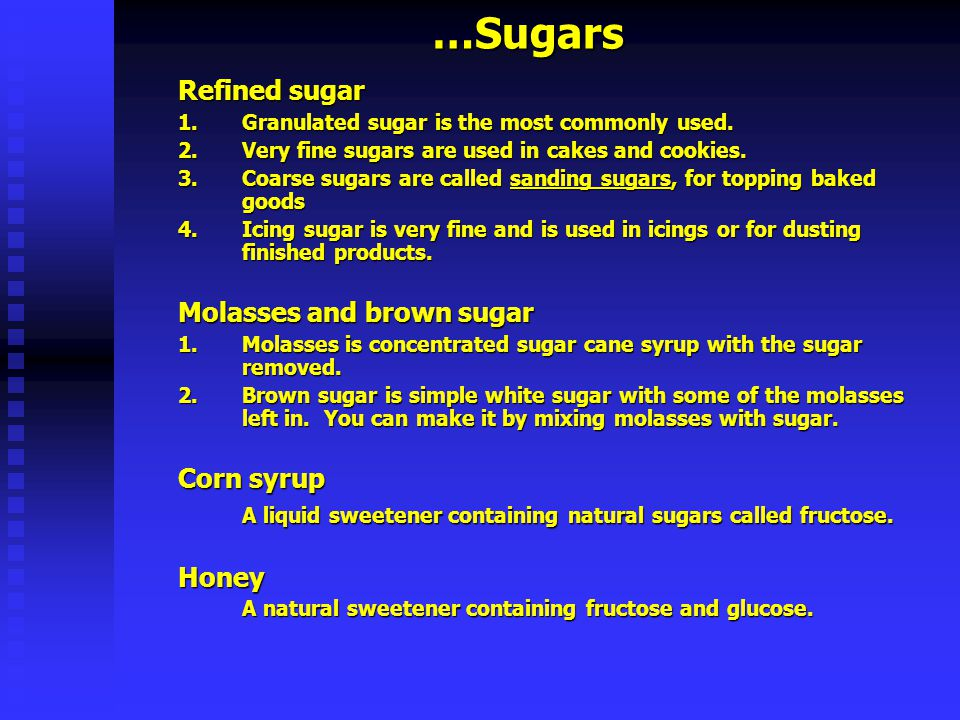 …Flour Flour Flour forms the basis of most baked goods Wheat flour contains proteins called gluten Astrong flour contains a high percentage of gluten and will make crisp, chewy products like baguettes or bagels Aweak flour contains less gluten and will make tender products, like cakes or pastry Whole Whole wheat flour includes the bran and the germ.