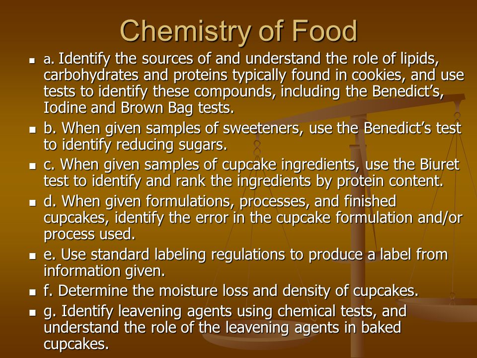 Chemistry of Food a.