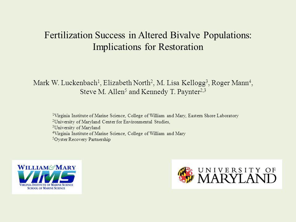 Mark W. Luckenbach 1, Elizabeth North 2, M. Lisa Kellogg 3, Roger Mann 4, Steve M. Allen 5 and Kennedy T. Paynter 2,3 Fertilization Success in Altered