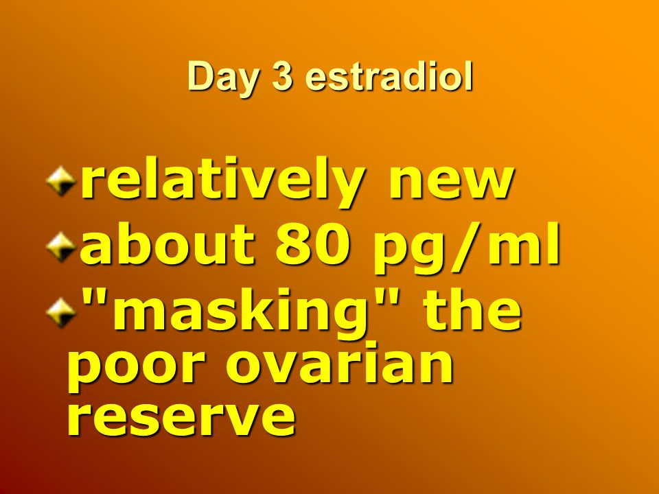 Day 3 estradiol relatively new about 80 pg/ml masking the poor ovarian reserve