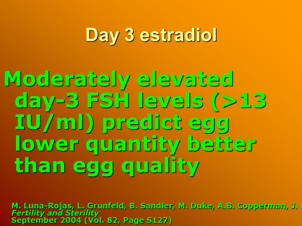 Day 3 estradiol Moderately elevated day-3 FSH levels (>13 IU/ml) predict egg lower quantity better than egg quality M.