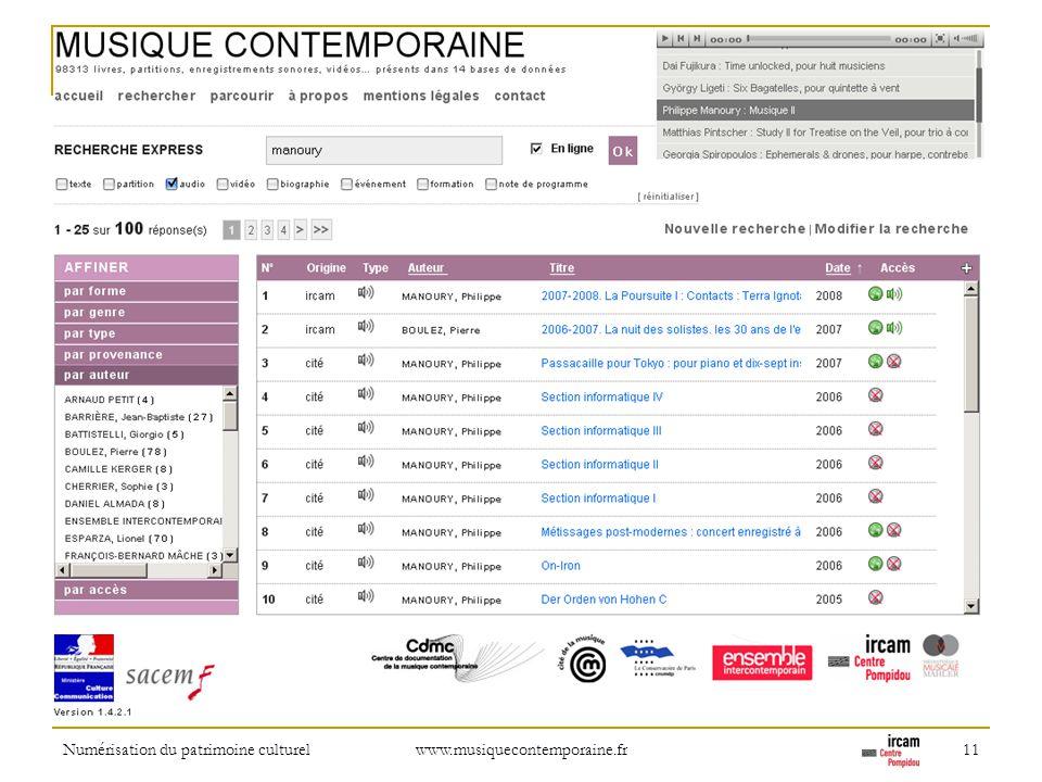 Numérisation du patrimoine culturel www.musiquecontemporaine.fr 11 Refinement: by person name (composer, performers, etc.)