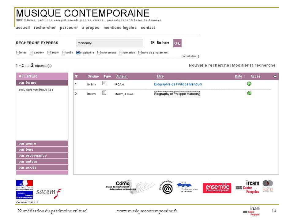 Numérisation du patrimoine culturel www.musiquecontemporaine.fr 14 Indexing the Grove as if it were a repository.