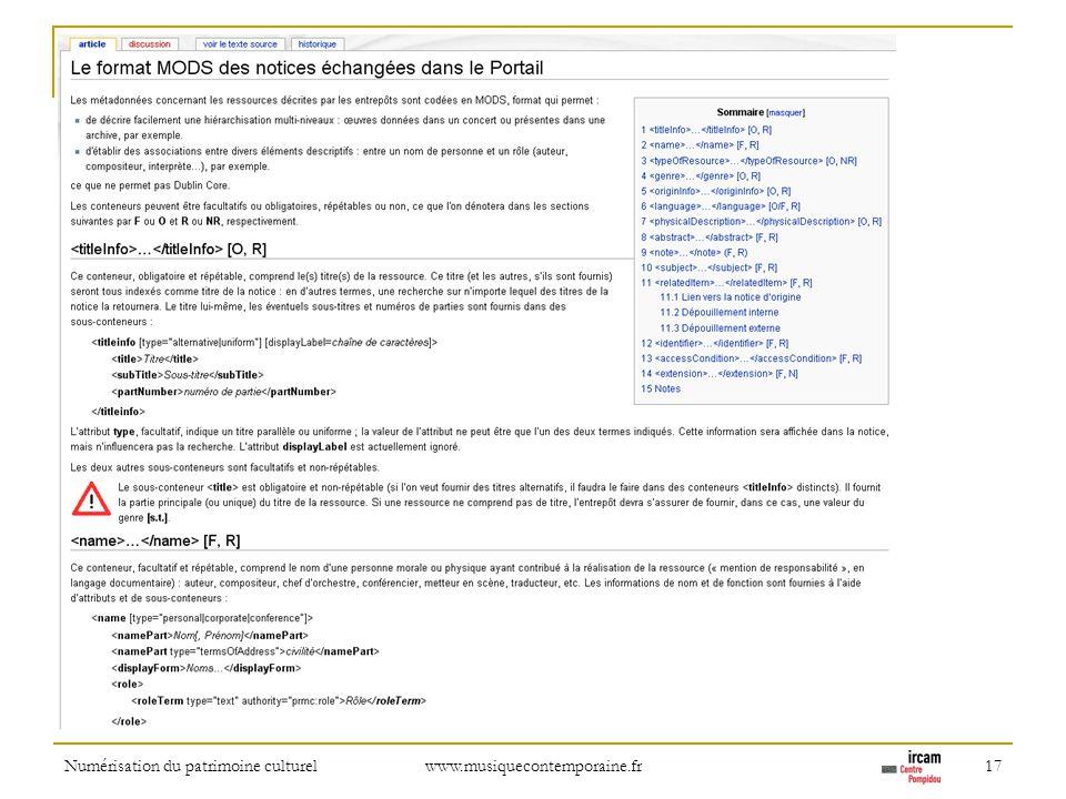 Numérisation du patrimoine culturel www.musiquecontemporaine.fr 17 Online documentation of the model used by the gateway.