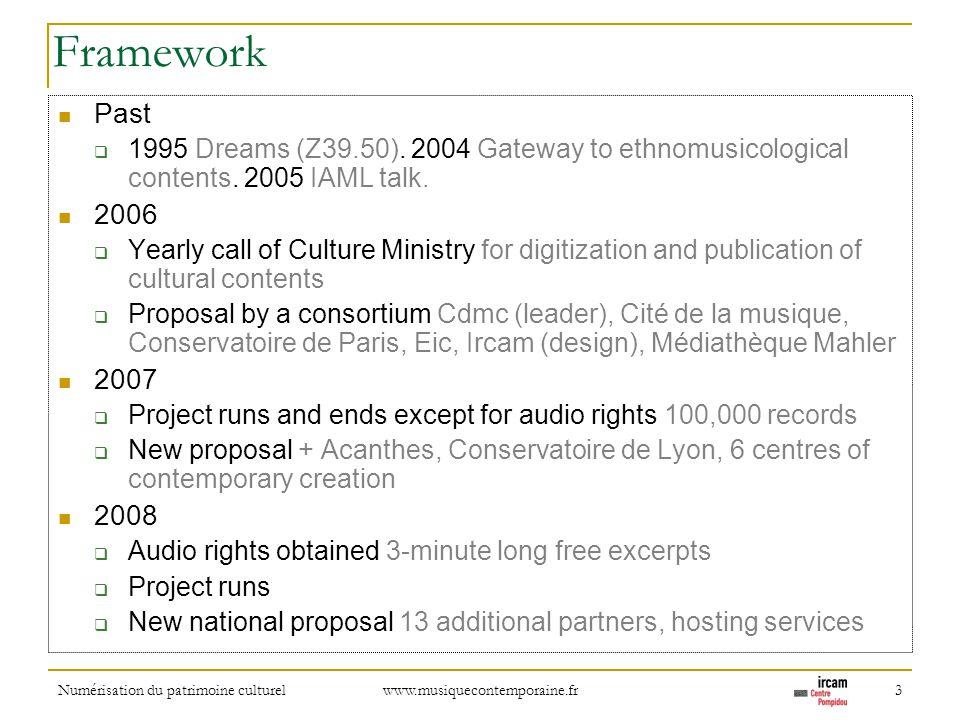 Numérisation du patrimoine culturel www.musiquecontemporaine.fr 3 Framework Past 1995 Dreams (Z39.50). 2004 Gateway to ethnomusicological contents. 20