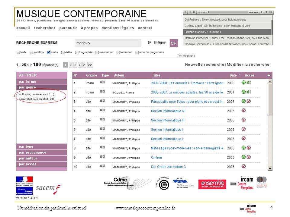 Numérisation du patrimoine culturel www.musiquecontemporaine.fr 9 Refinement: by type of recording (conference vs.