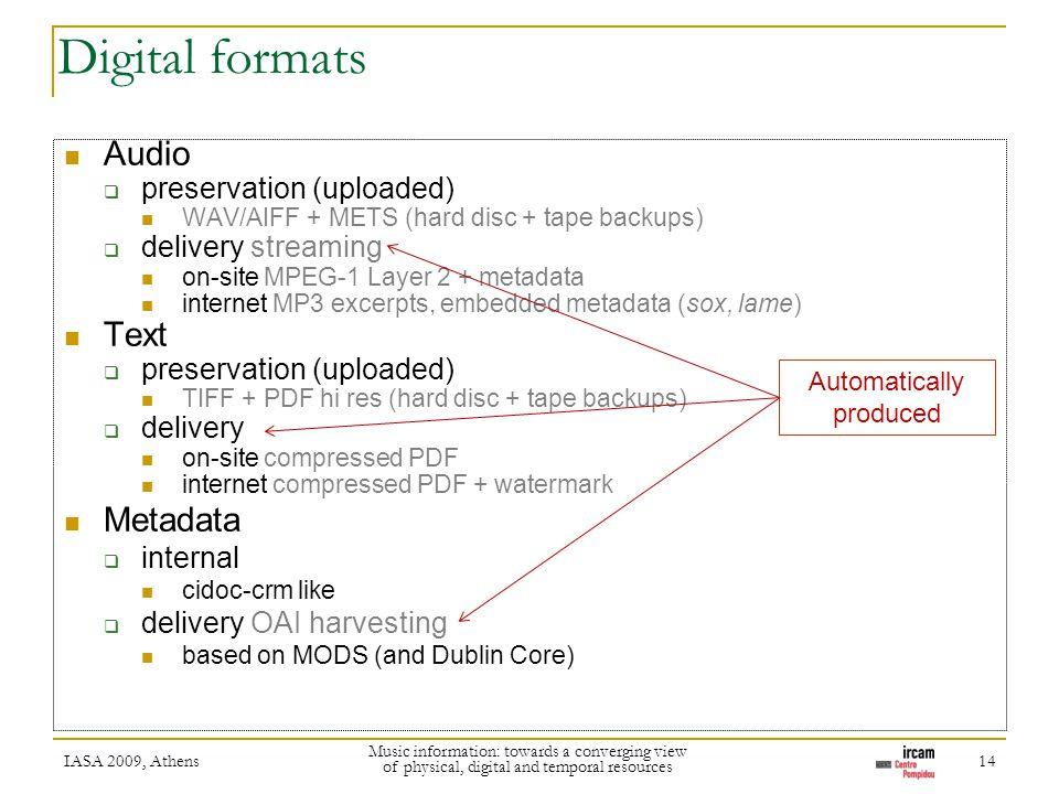Digital formats Audio preservation (uploaded) WAV/AIFF + METS (hard disc + tape backups) delivery streaming on-site MPEG-1 Layer 2 + metadata internet