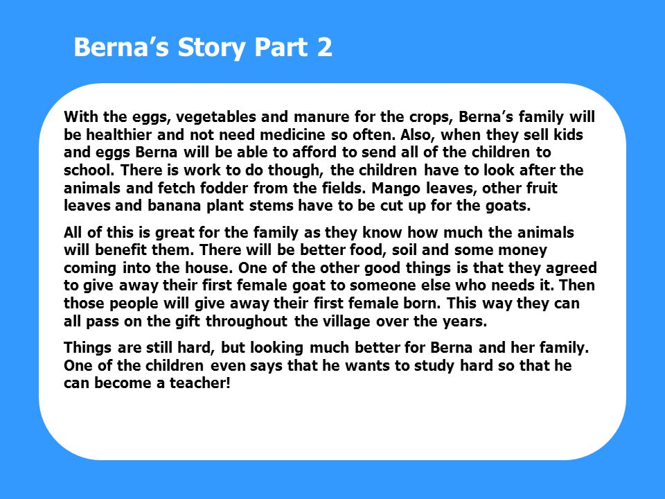 With the eggs, vegetables and manure for the crops, Bernas family will be healthier and not need medicine so often.
