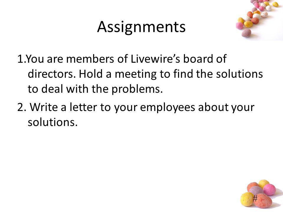 # Assignments 1.You are members of Livewires board of directors. Hold a meeting to find the solutions to deal with the problems. 2. Write a letter to