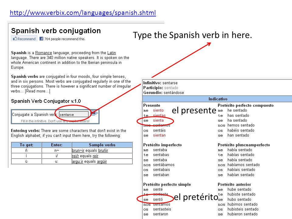 http://www.verbix.com/languages/spanish.shtml Type the Spanish verb in here.