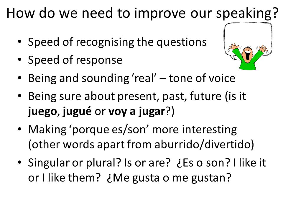 How do we need to improve our speaking.
