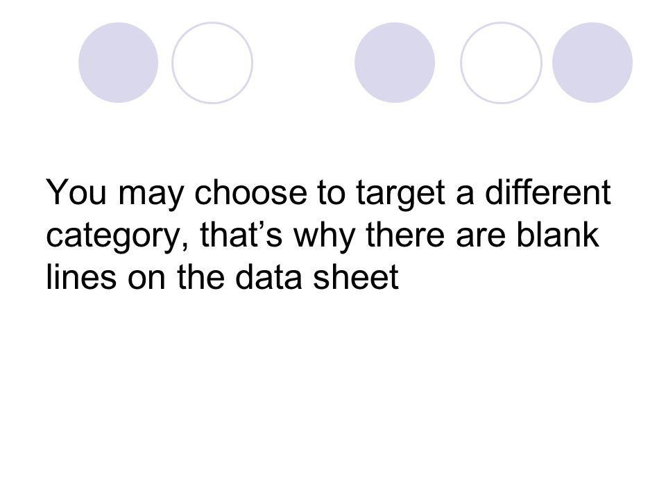 You may choose to target a different category, thats why there are blank lines on the data sheet