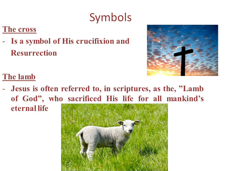 Symbols The cross -Is a symbol of His crucifixion and Resurrection The lamb -Jesus is often referred to, in scriptures, as the, Lamb of God, who sacri