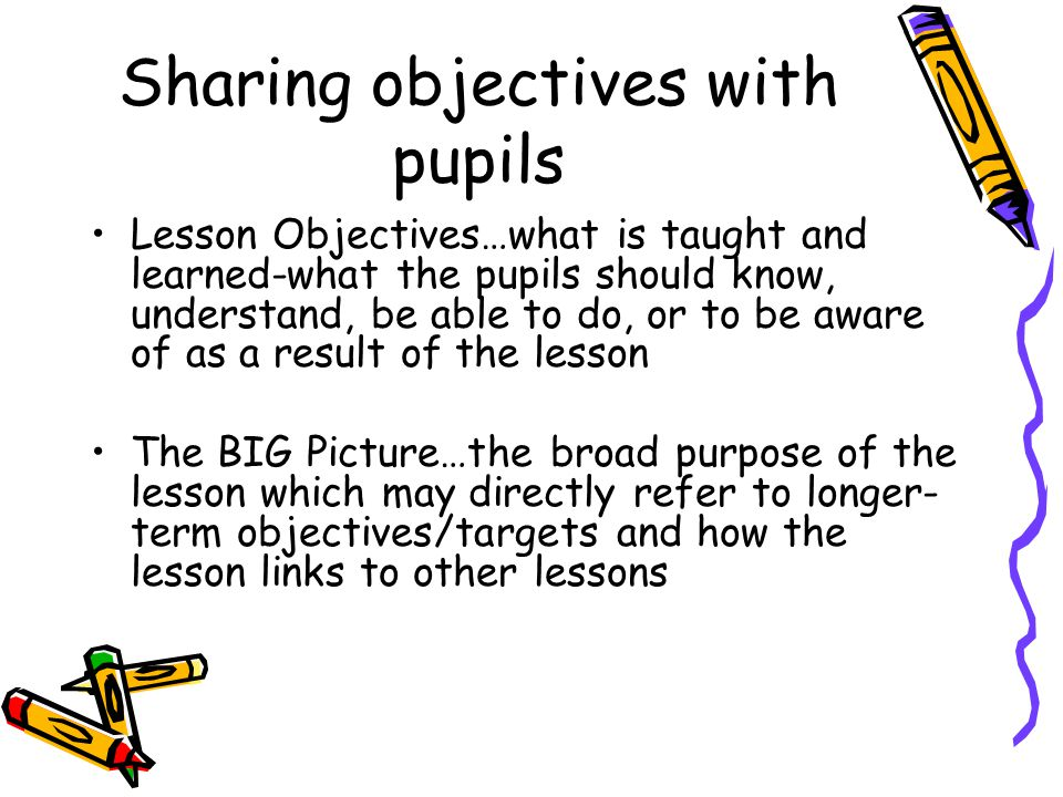 Sharing objectives with pupils Lesson Objectives…what is taught and learned-what the pupils should know, understand, be able to do, or to be aware of